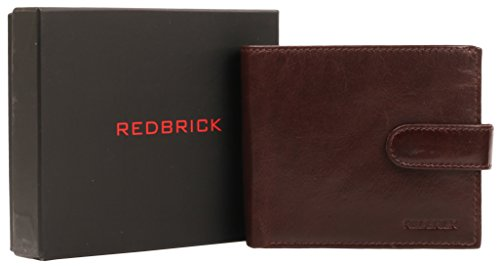 Redbrick Men's Locker-Organizer in pelle, colore: Marrone con logo per carte di credito e tasca per banconote & monete, in confezione regalo