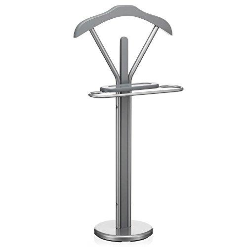 IDIMEX Valet de Chambre Fabio chevalet de Nuit Portant pour vêtements,  Structure en métal laqué Couleur Aluminium et Finition en MDF Gris