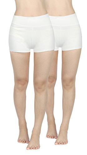 4How Lot 2 Femme Short de Sport Confortable Taille Haute Blanc, Taille S