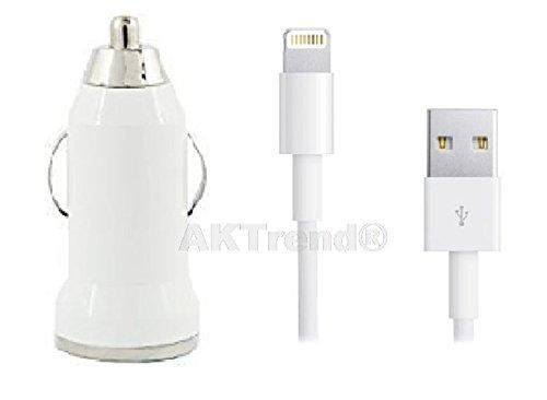Original AKTrend® Premium 2in1 Ladeset KFZ Adapter + USB Ladekabel / Datenkabel für iPhone 5 5s 5c, iPhone 6 (4,7 Zoll), iPod Touch 5G, iPad Mini, iPad 4, iPod Nano 7G Adapter in weiß + KFZ USB Ladeadapter 5g 6. Generation Iphone