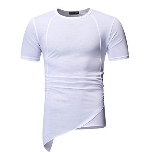 Auied Herren Sommer Normallack Unregelmäßiger O-Ausschnitt Kurzarm Sport T-Shirt Top Bluse -