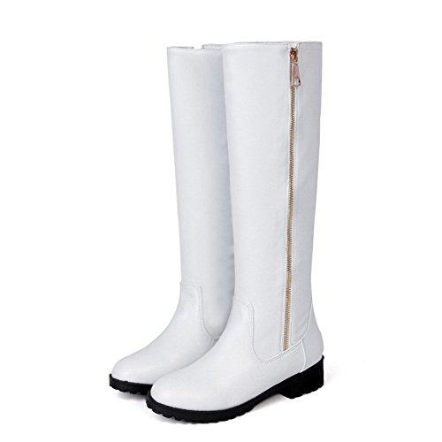 VogueZone009 Damen Hoch-Spitze Reißverschluss Niedriger Absatz Rund Zehe Stiefel Weiß