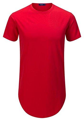 AIYINO Herren T-Shirt mit Rundhalsausschnitt 100% Baumwolle Long Shaped Side Zip Tee L Rot (Zip-tee)