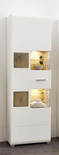 Stella Trading Fun Plus Vitrine, Vitrinenschrank, Holzdekor, weiss, (B/H/T) 65 x 205 x 37 cm