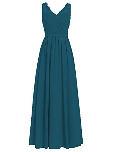 """Brautjungfernkleider Spitze Lang A-Linie Chiffon Ballkleider V-Ausschnitt Ã""""rmellos Abendkleider Hochzeit Kleider Tintenblau 58"""