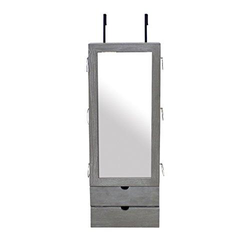 Todeco - Mueble para Joyas con Espejo, Organizador con Espejo - Material: MDF - Tamaño del espejo: 692 x 278 x 3 mm - 101 x 35,5 x 9,5 cm, Gris, Gancho de puerta
