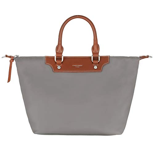 David Jones - Damen Tote Shopper Nylon wasserdichte Handtasche - Tragetasche Schultertasche - Shopping Bag Große Kapazität - Umhängetasche Schultertasche Casual Arbeit Reise - Grau