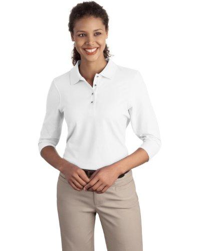 Port Authority Damen Silk Touch; 3/4Arm Sport Shirt L562 Gr. Large, Weiß (3/4 Ärmel Polo)