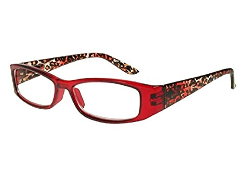GL2171 Safari Red Animal Print Rectangular Reading Glasses +1.0, +1.5, +2.0. +2.5, +3.0 (+2.0)