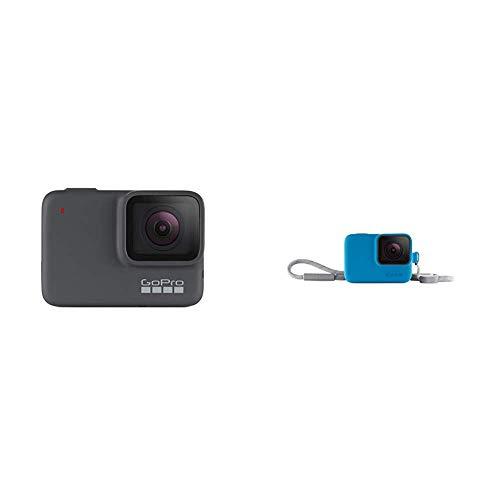 GoPro HERO7 Silver - Cámara de acción (sumergible hasta 10 m, pantalla táctil, vídeo 4K HD, fotos de 10 MP) color gris + Funda para cámara GoPro (incluye cordón) azul