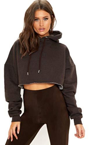 ZJ Clothes Ladies Cropped Oversize Hoodie Womens Long Sleeve Baggy Sweatshirt Hooded Top (Large-UK/EU-40, Chocolate/Brown) Chocolate Hooded Sweatshirt Hoodie