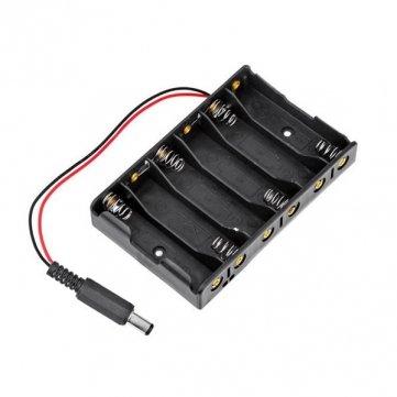 Souked 6 x AA support de la pile de stockage de cas Avec DC2.1 Power Jack Pour Arduino