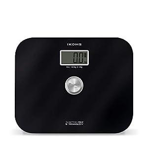 IKOHS EXIGES – Báscula de Baño ecológica generación de energía con Pantalla LCD, sin pilas ni baterias, Compacta, Capacidad de 150kg, Medición Alta Precisión, Con Apagado Automático (Negro)
