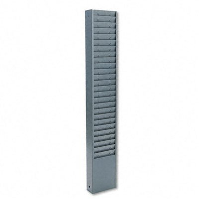 Buddy Products 25 Pocket Time Card Rack, Steel, 7 Inch Pocket Height, 4.375 Pocket Width, 2 x 30.125 x 5 Inches, Gray (0800-1)