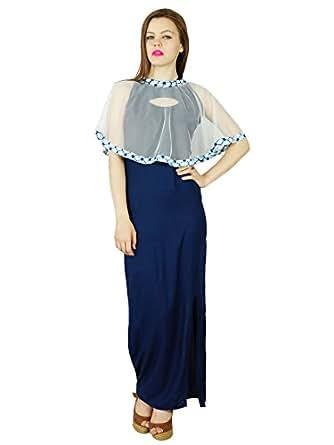 Bimba Frauen lange Maxi-Kleid mit Seitenschlitz und Netto-Poncho coverup klassisches formales Kleid