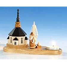 Luz del candelero + del té con la Navidad de la iglesia y del padre, 14 sin pintar cm