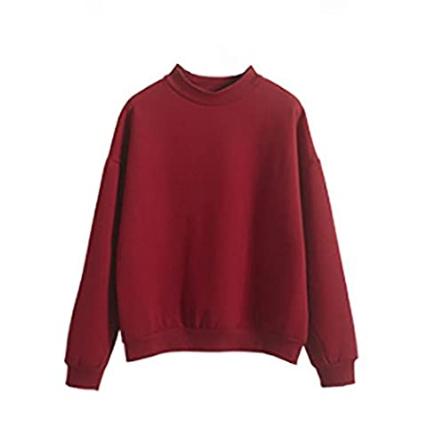 DAYLIN 1PC Women Girl Plus Size Sweatshirt Long Sleeve Crop Jumper Pullover Tops (M, Wine Red)