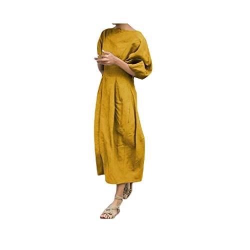 LijunMimo Sommer Strandkleider Damen Lose Laternenärmel Taille Schlank Falten Kleider Mode Rundhals Freizeit Elegant Kleider Abendkleid - Weste Dressing Frauen