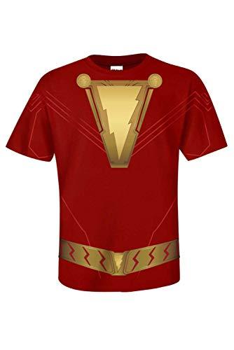 MingoTor Herren Superheld Shazam! Kurzarm Bedrucktes T-Shirt Hemd Cosplay Kostüm Rot