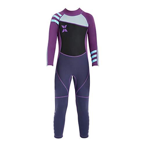 GWELL Mädchen Kinder Neoprenanzug 2.5MM Neopren Langarm Wärmehaltung Tauchanzug Badeanzug Wetsuit für Wassersport Schwarz-Violett S