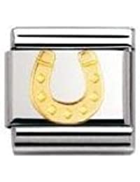 Nomination Composable Classic Land Animals Elephant Stainless Steel and 18K Gold U1OklHVXAD
