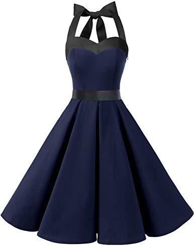 Dresstells Neckholder Rockabilly 1950er Polka Dots Punkte Vintage Retro Cocktailkleid Petticoat Faltenrock Navy Black L