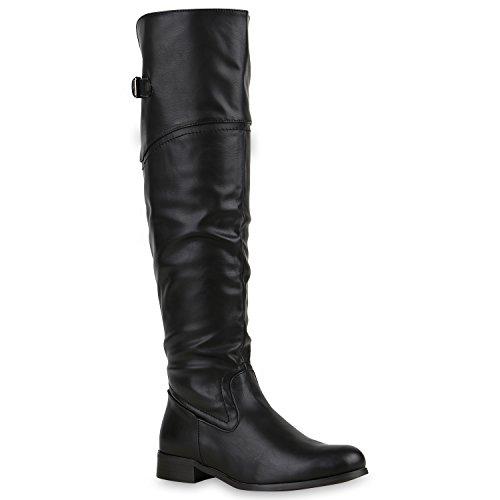 Damen Stiefel Overknees Veloursleder-Optik Winterstiefel Langschaftstiefel Blockabsatz Schuhe 127798 Schwarz Schnalle 38 | Flandell®