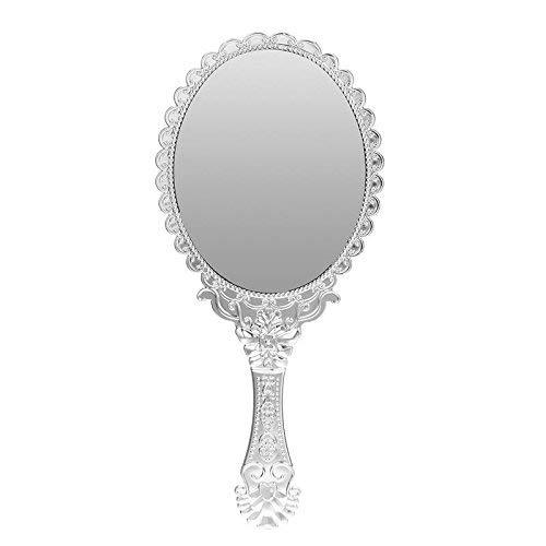 Uteruik Espejo de Maquillaje Vintage Queen Ronda Portátil Decorativo de Plata Pared Espejo de Mano...