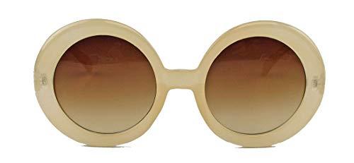 amashades Vintage Classics Große runde Damen Retro Sonnenbrille im Designer Look 60er 70er Jahre dicker breiter Rahmen Bügel PR93 (Mod.2: Nude)