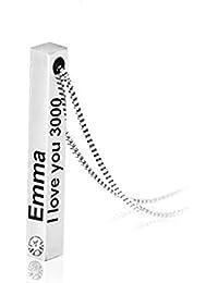 GDCB Nombre Personalizado Birthstones Bar Collar Acero Inoxidable Emma I Love You 3000 Collares Colgantes Verticales Personalizados para Hombres Mujeres Regalo