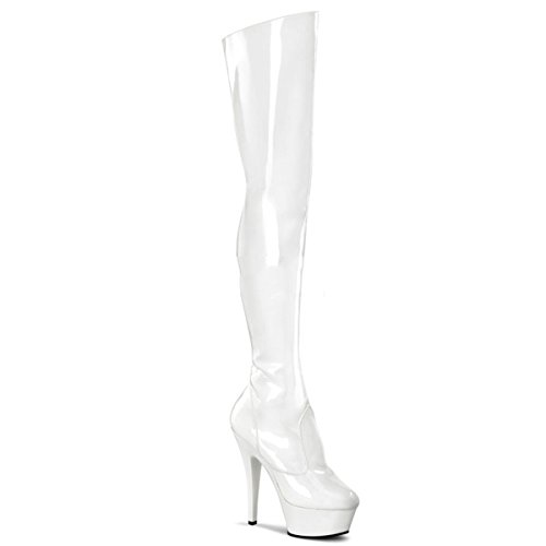 Pleaser Kiss-3010 - Sexy Stiletto Plateau Overknee Stiefel High Heels 36-45, Größe:EU-44 / US-13 / UK-10
