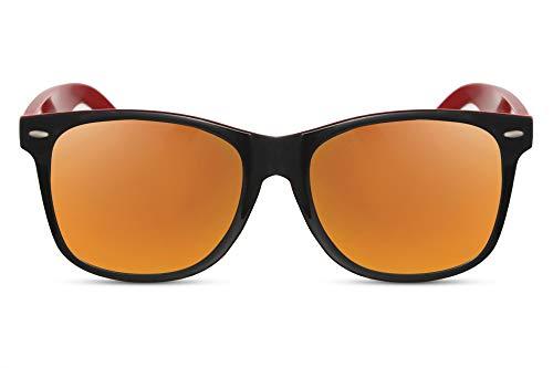 Cheapass Sonnenbrille Schwarz Rot Verspiegelt UV-400 Zweifarbiger Rahmen Recht-Eckig Plastik Unisex