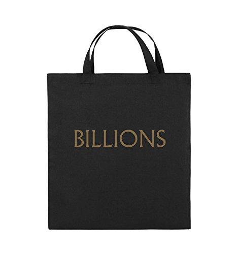 Buste Comiche - Miliardi - Logo - Borsa In Juta - Manico Corto - 38x42cm - Colore: Nero / Rosa Nero / Marrone Chiaro