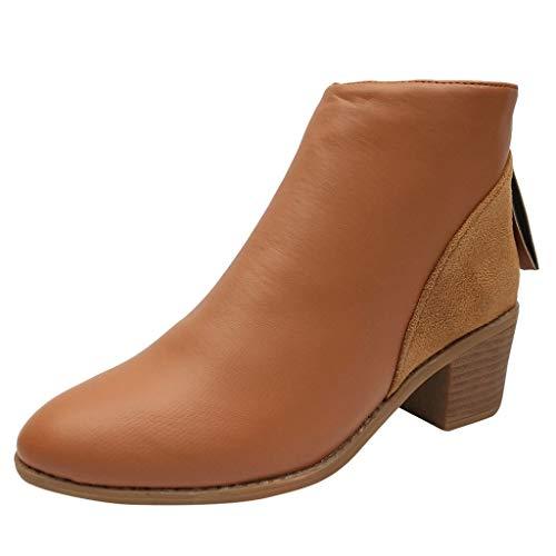 MDenker Damen Boots Ankle Leder Blockabsatz Kurzschaft Stiefel Absatz Schuhe Winter Elegant LäSsiger, Einfarbiger, Großer Retro-RöMischer DamenreißVerschluss Mit Stiefeletten