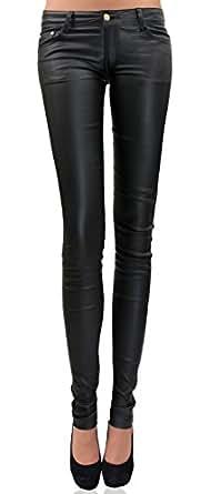 DANAEST Damen Bootcut Kunstlederhose Skinny Style (230), Grösse:36 S, Farbe:Schwarz