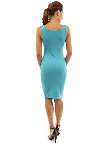 PattyBoutik Mama femmes robe de maternité ruchée sans manches col bénitier Turquoise