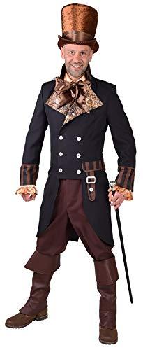 narrenkiste M218204-M schwarz Herren Steampunk-Gothic-Halloween 1900 Frack Kostüm Gr.M