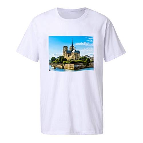 Camisetas Hombre Originales,ZARLLE Camisas Hombre,Deportivas Hombre,Polos Hombre,Hombres Camiseta de Moda para Hombre de Notre Dame 3D,Slim Fit Camisetas Blusa Tops Hombre Verano