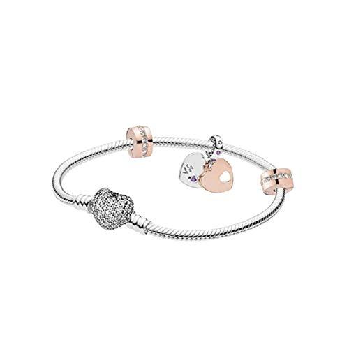 belinia prestige Pandora Style Armband - Damenarmband - Pandora Charms-Armband im europäischen Stil (Silber Herz Kristall, 17) (Mit Armband Pandora Charms Set)