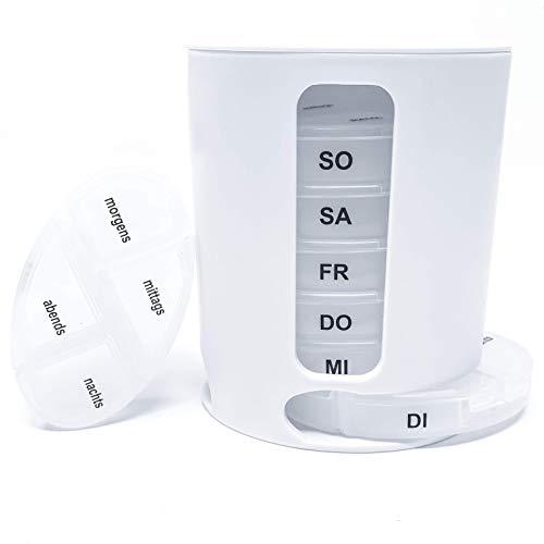 Hochwertige Tablettenbox 7 Tage mit 4 Fächern für die gesamte Woche geeignet für kleine Pillen Morgens Mittags Abends Nachts in Weiß