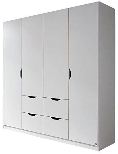 Rauch Kleiderschrank 4-türig mit 4 Schubkästen 181 x 197 x 54 cm alpinweiß skandinavisch Kinderzimmer Jugendzimmer