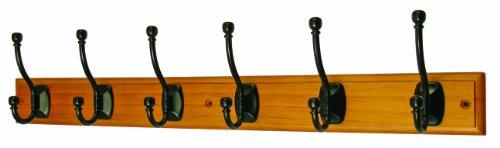 Headbourne Azhr0302 - Perchero (6 ganchos, remate de bola, latón y madera)