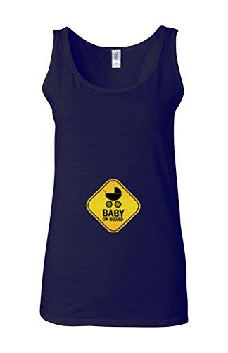 Baby On Board Pregnant Surprise Novelty White Femme Women Tricot de Corps Tank Top Vest Bleu Foncé