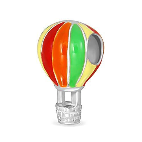 (Sistakno Armband-Anhänger Sterling-Silber 925 bunte Heißluftballons Gondola-Geflecht Korb Emaille)