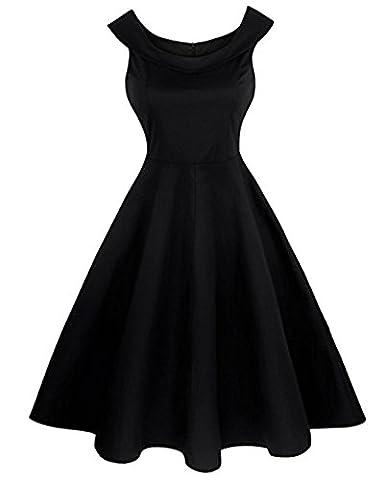 Robe Noir Vintage - 50s Vintage Jupe Plisser Rétro Sans Manche