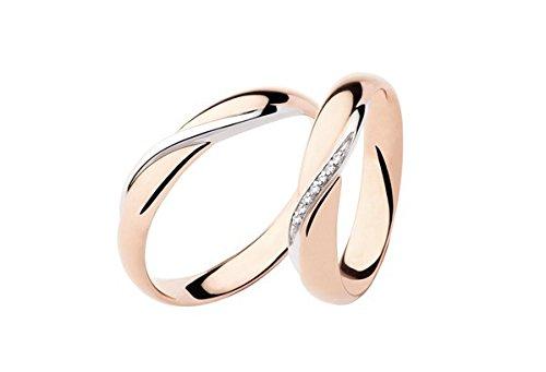 Fedi matrimoniali polello diamanti kt.0.03 oro rosa e bianco gr.5 mm.3.8