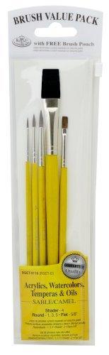 Royal Langnickel Sable/Camel Brush Set Value Pack, 5-Pack by ROYAL BRUSH - Value Pack Von Camel