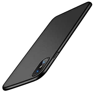 TORRAS Coque iPhone XS Coque iPhone X, Ultra Fine Matte Case, Anti-Rayures Protection Rigide Cover Simple Élégant Extra Slim Mince Housse Étui pour iPhone XS/iPhone X - Noir