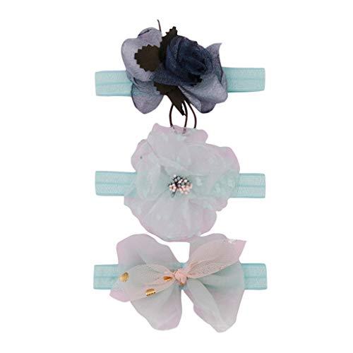 Cuteelf Mehrfarbig Kopfband Haarspange Share 3 Stück Baby Mädchen Neueste Turban Stirnband Kopf HaarbandBlumenstirnbandbaby-elastischer Bogenzusatzhaarbandsatz der Kinder