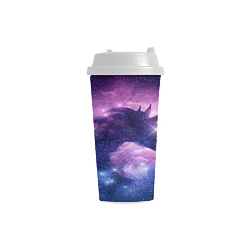 Plastikkaffeetasse Eine Einhorn-Silhouette in einer Galaxien-Nebel-Wolke 16 Unze-doppelwandige Plastikschalen Pendler-Reise-Kaffeetassen für Frauen-Getränk-Sport-Wasser-Becher-Drucken -